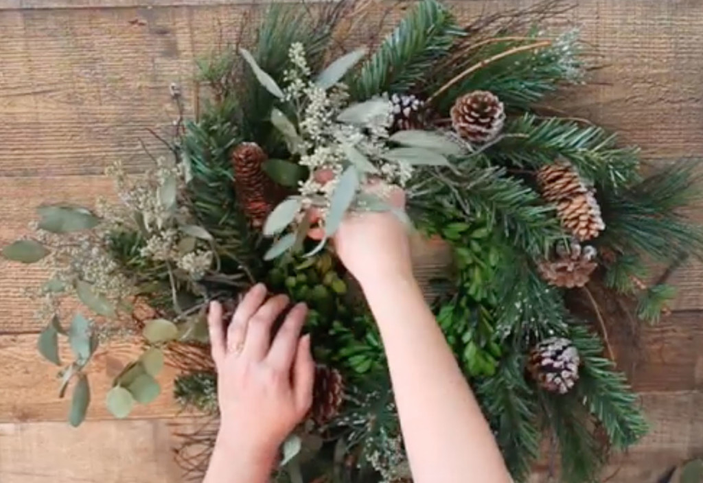 add eucalyptus leaves to wreath