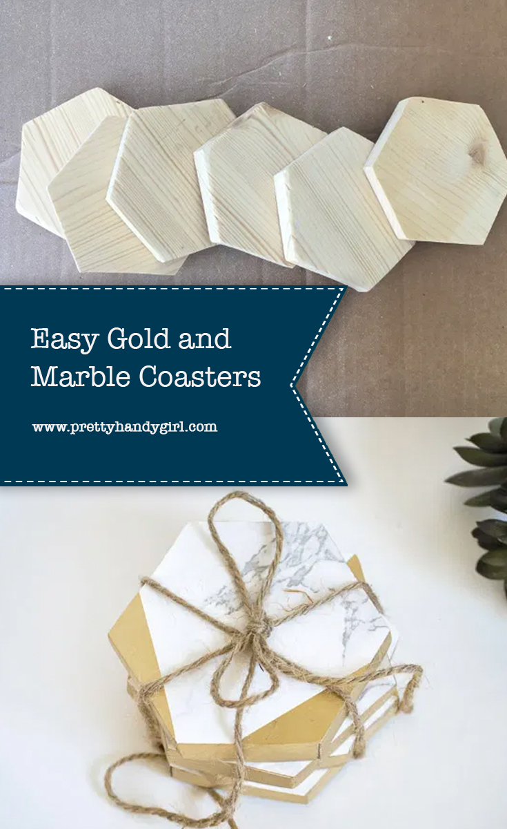 Easy Gold and Marble Coasters | Pretty Handy Girl