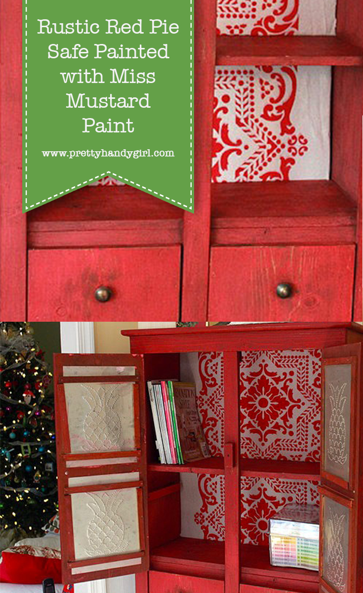 Rustic Red Pie Safe Painted with Miss Mustard Seed Milk Paint | Pretty Handy Girl