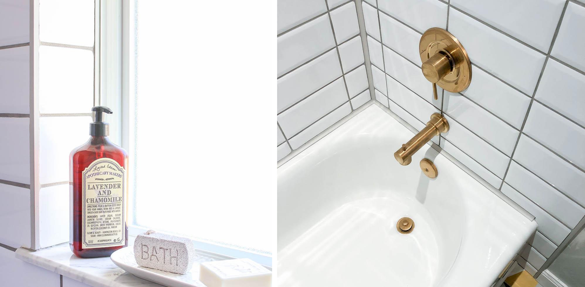 Millies Remodel: Tiling Main Bathroom using tile profiles for caulk free shower tub