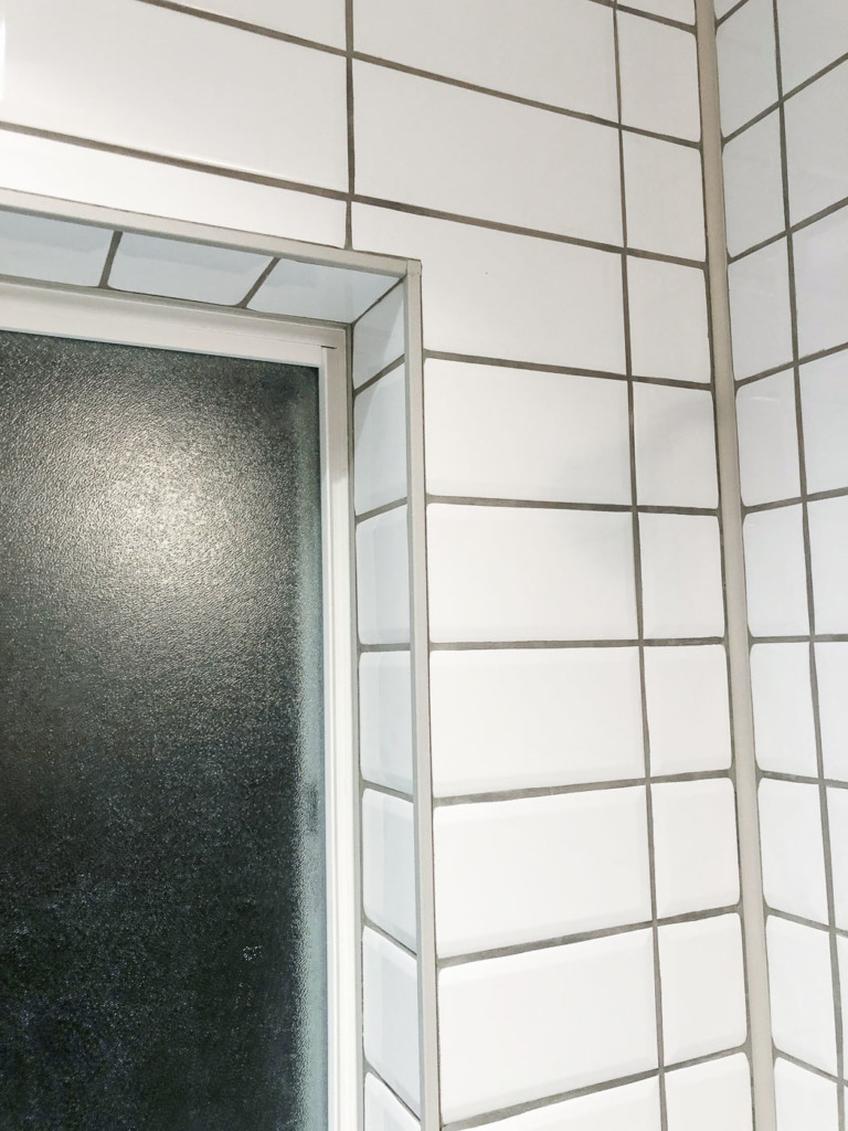 close up corner of window with schluter quadec profiles
